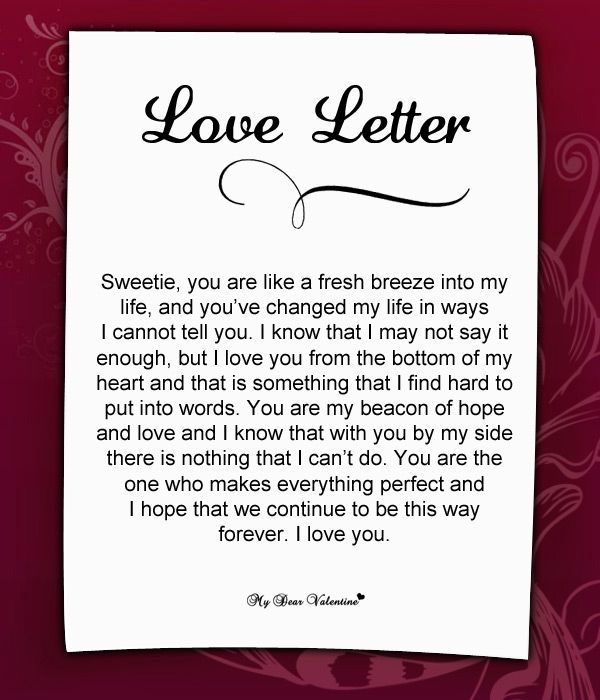 Cute romantic love letters for her