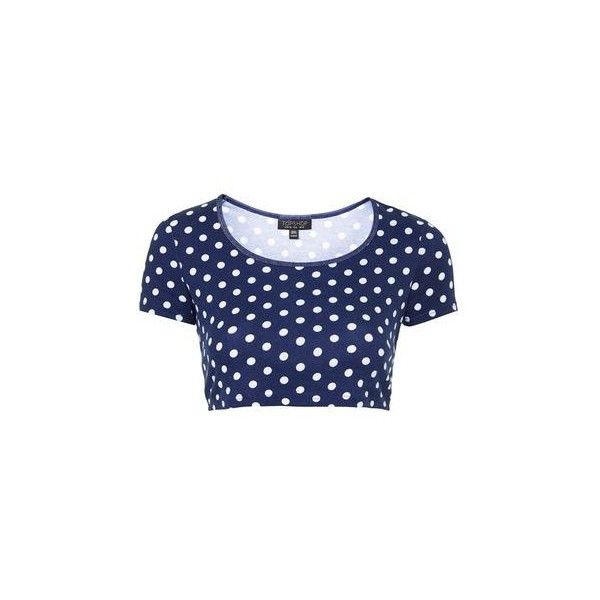 TopShop Spot Print Crop Tee ($8.69) ❤ liked on Polyvore featuring tops, t-shirts, navy blue, navy tee, blue tee, polka dot crop top, blue top and topshop
