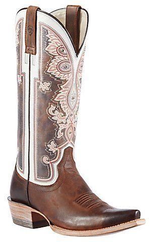 Ariat® Women's Weathered Brown Alameda w/ Regal Print Top Snip Toe Western Boots   Cavender's Boot City