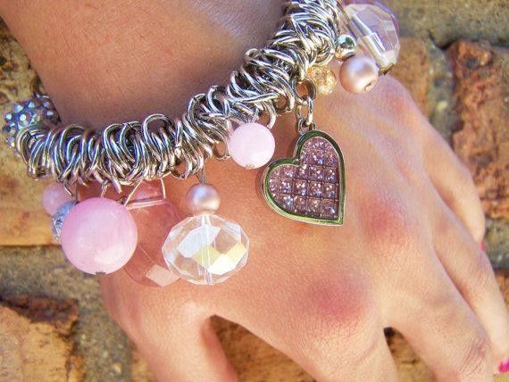 Girly Chic Pendant Bracelet. Hearts, pink and silver bracelet from Ash Ann Jewelry. Cute and pretty at the same time.
