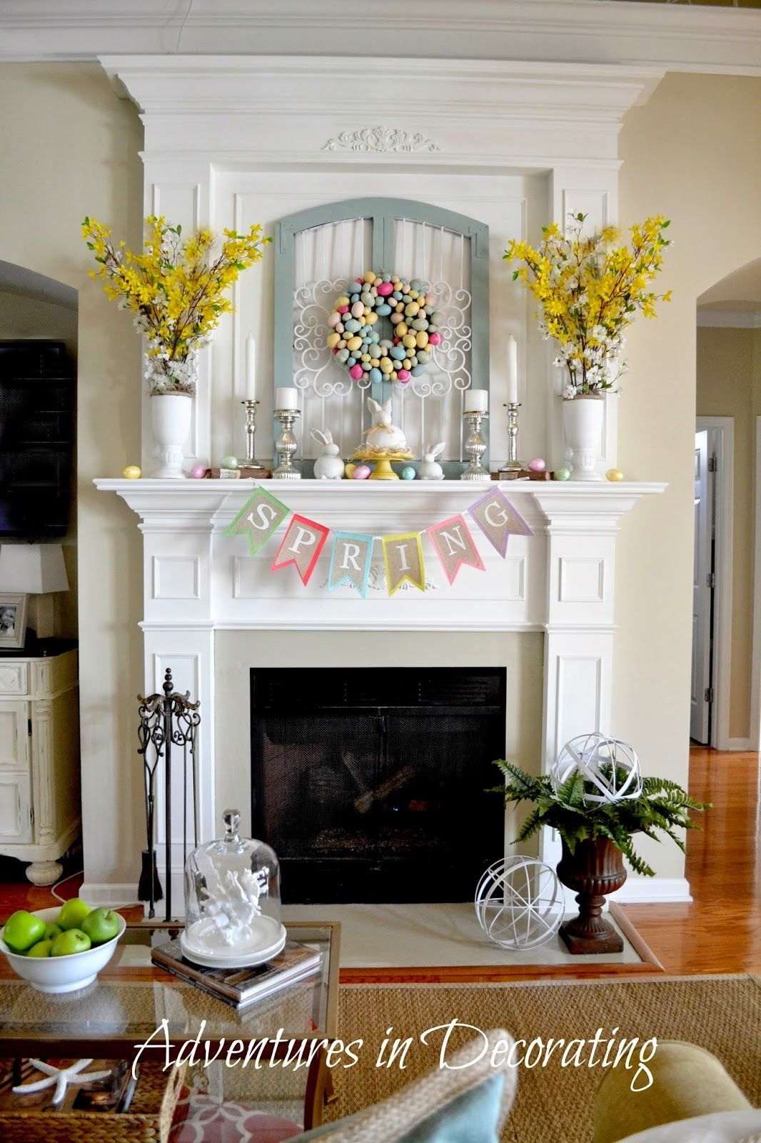 Adventures in Decorating Spring/Easter Décor 2014...Lovely! //adventuresindecorating1.blogspot.com/2014 /03/styling-our-spring-mantel.html & Adventures in Decorating Spring/Easter Décor 2014...Lovely! http ...