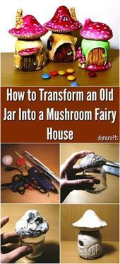 to turn an old glass into a mushroom fairy house  DIY GArden How to turn an old glass into a mushroom fairy house  DIY GArden  How to turn an old glass into a mushroom fa...