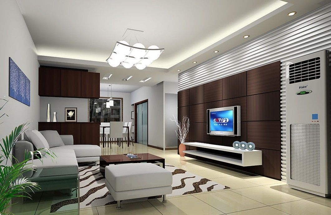 Marvelous Dark Brown TV Wall 3D Design Rendering