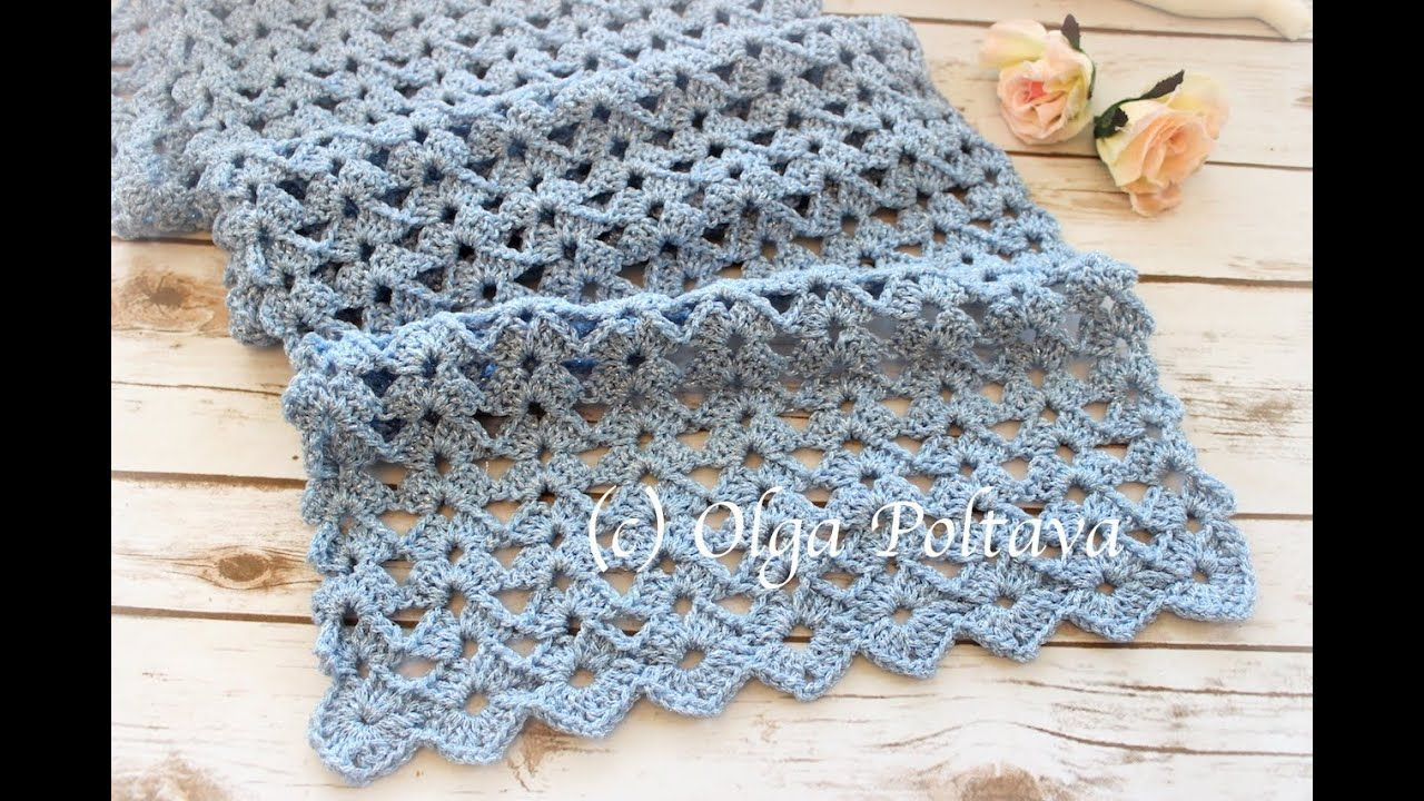 How to Crochet Lace Scarf, Easy Shells Crochet Stitch