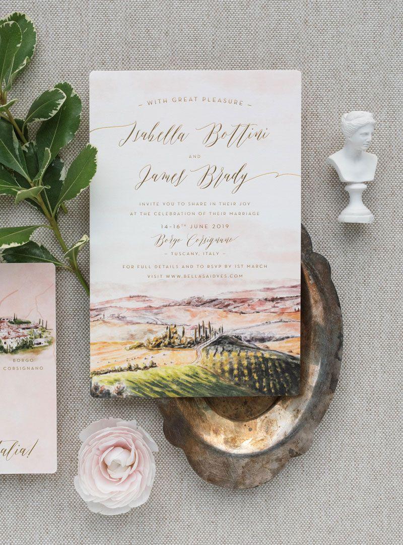Borgo Corsignano Watercolor Wedding Invitation Sunset Wedding Invitations Barn Wedding Invitations Watercolor Wedding Invitations