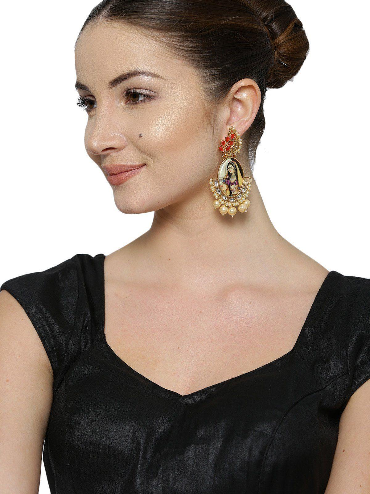 Zaveri pearls padmavati inspired ethnic and classic dangle earring