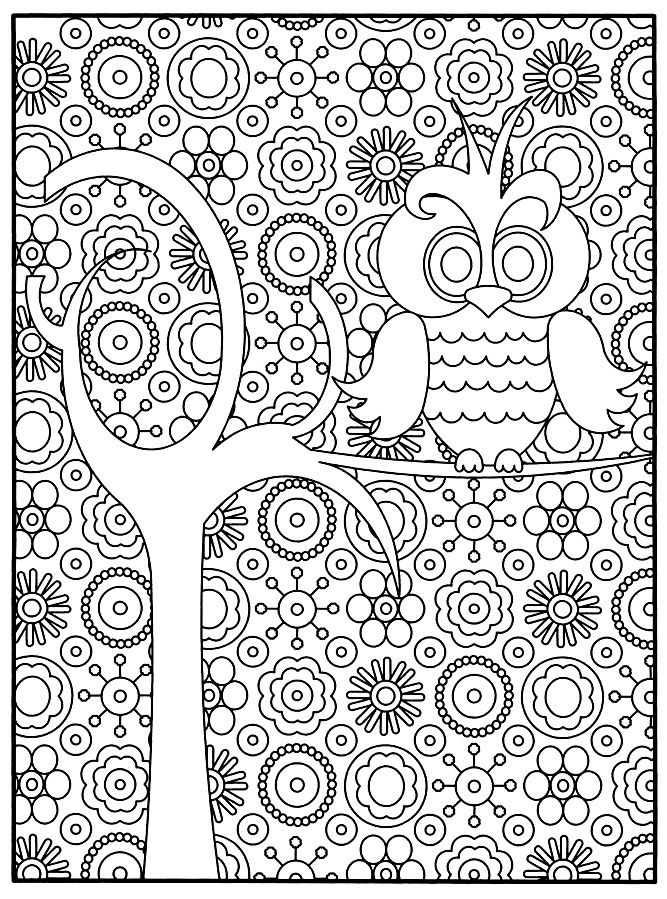 free coloring page coloring adult owl a small owl style very cartoon perched on a tree branch with a lot of flowers in the background adult coloring