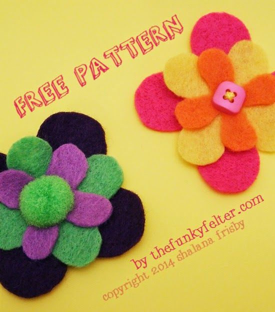 felt flower craft tutorial with free pattern for download