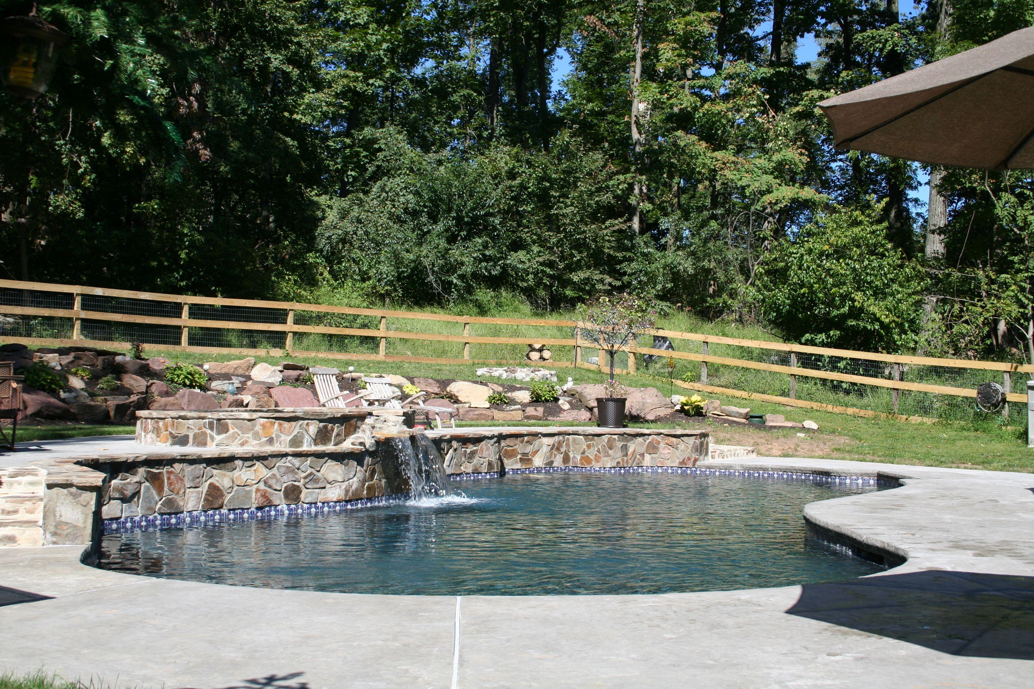 Renovation Free Form In Ground Concrete Plaster Gunite Pool Raised Bond Beam Stone Faced Wall