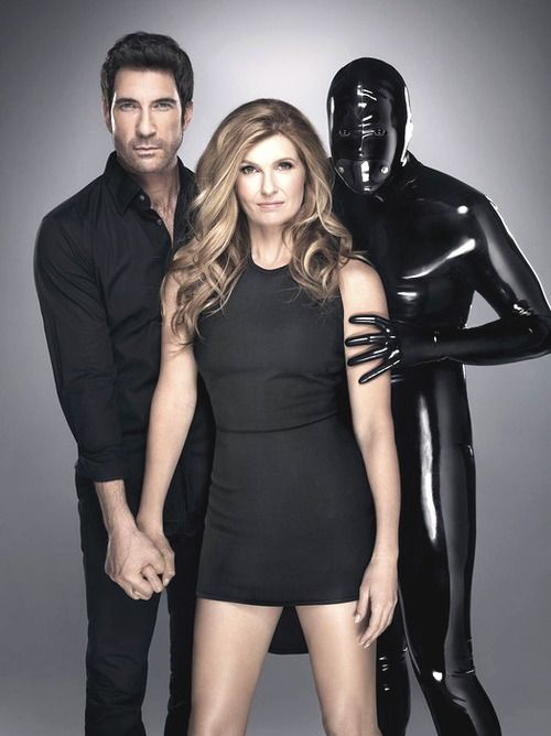 Dylan Mcdermott Connie Britton And Rubber Man American Horror