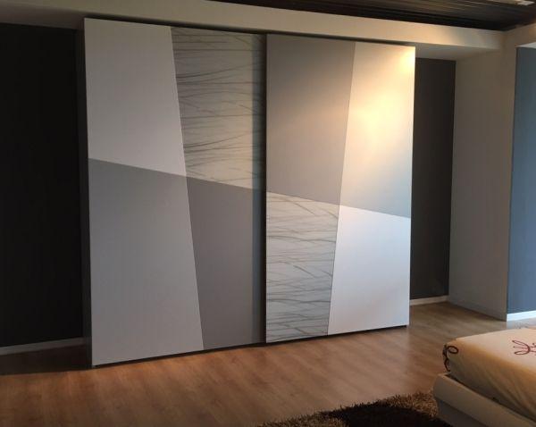 Armadio Scorrevole Bianco E Grigio Dia Wardrobe Design Bedroom