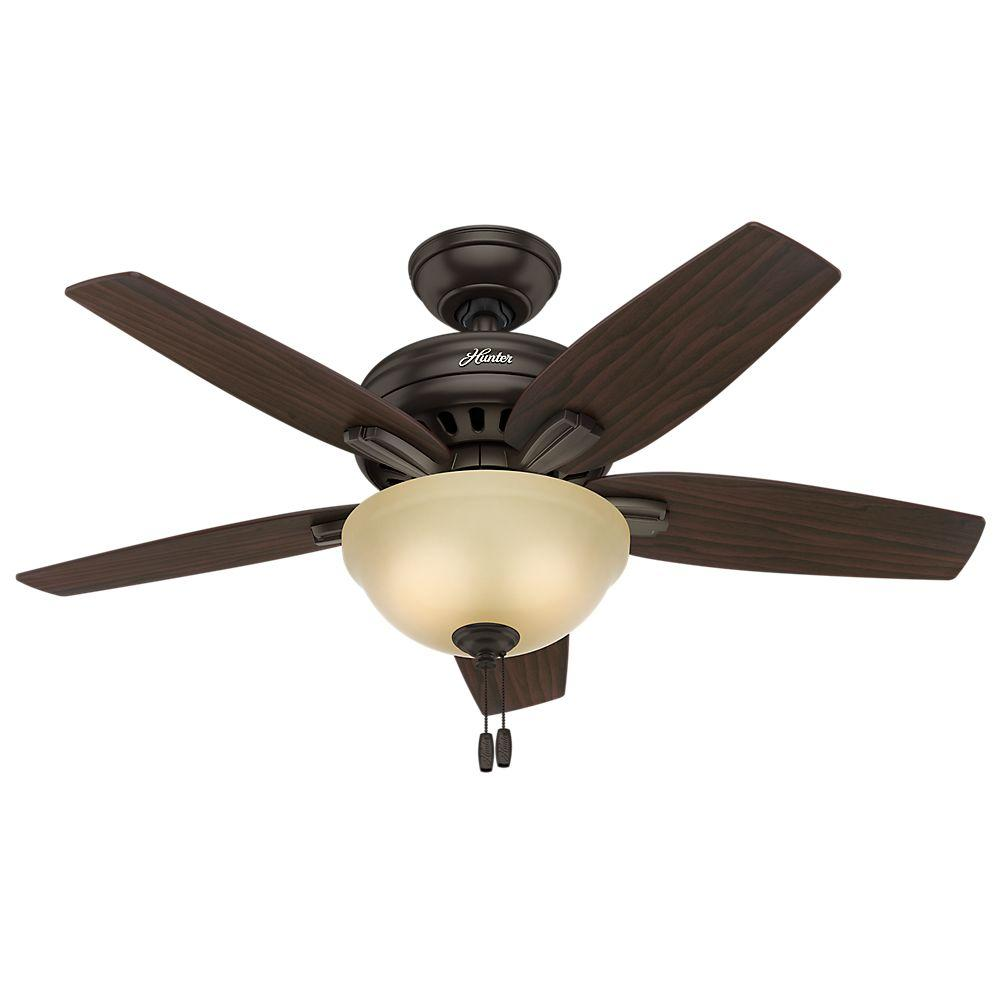 Hunter Newsome 42 In Indoor Premier Bronze Ceiling Fan With Light Kit 51087 The Home Depot Ceiling Fan With Light Bronze Ceiling Fan Ceiling Fan