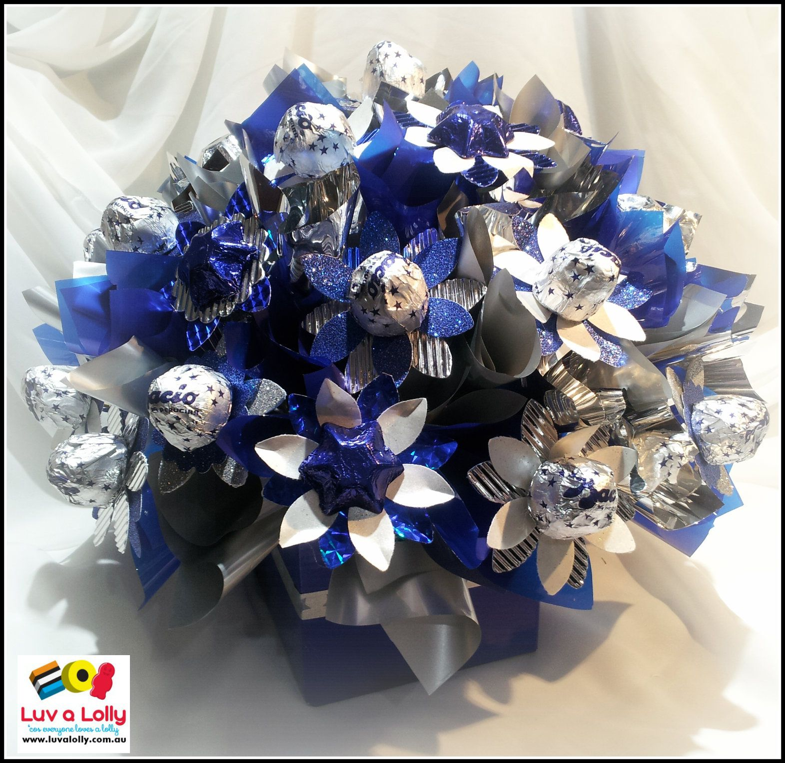 Baci Chocolate Flower Bouquet with blue chocolate stars ...