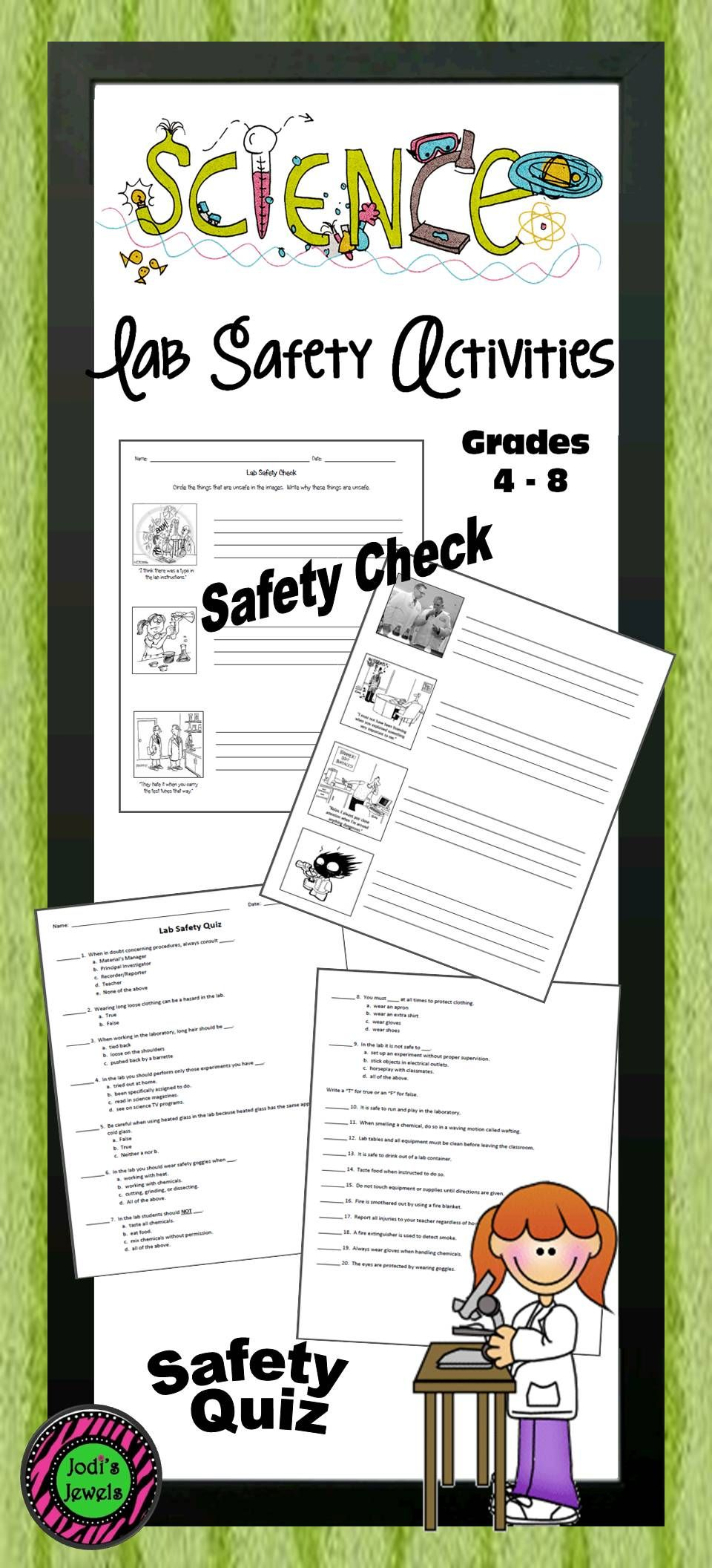 Middle school science lab safety check and quiz. Use humor