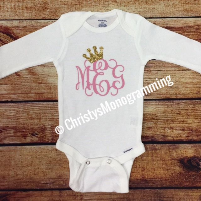 Monogrammed baby onesie with initials and crown tiara infant monogrammed baby onesie with initials and crown tiara infant personalized custom baby shower monogrammed gift by negle Choice Image