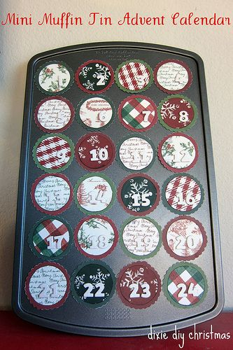 Advent calendar in a mini muffin tin - magnets decorated with cardstock cover the secret treats in each muffin cup!