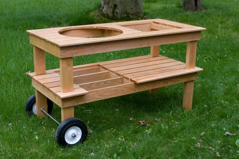 like the larger wheels on this one put a good handle on the other end and would be super easy on outdoor kitchen on wheels id=71319