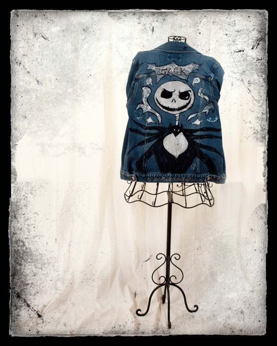 Jack Skellington Demin Jacket Hand Sketched and by LooksFromBooks, $40.00