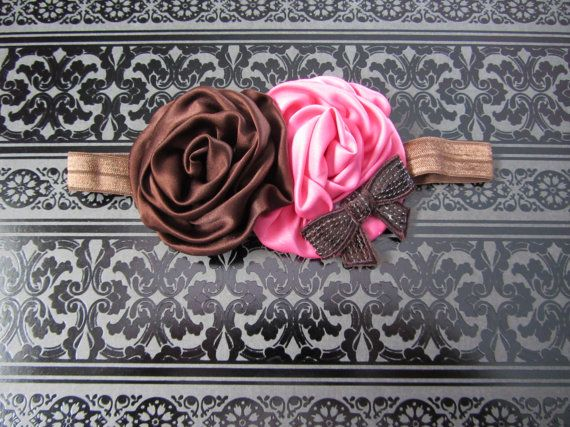 Pink and brown rolled satin rose headband
