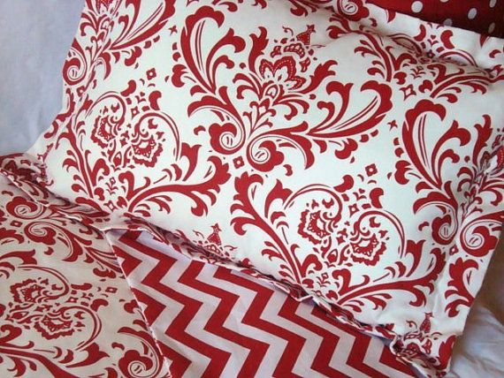 Dorm Bedding College Twin Duvet Cover Red White Damask And Chevron