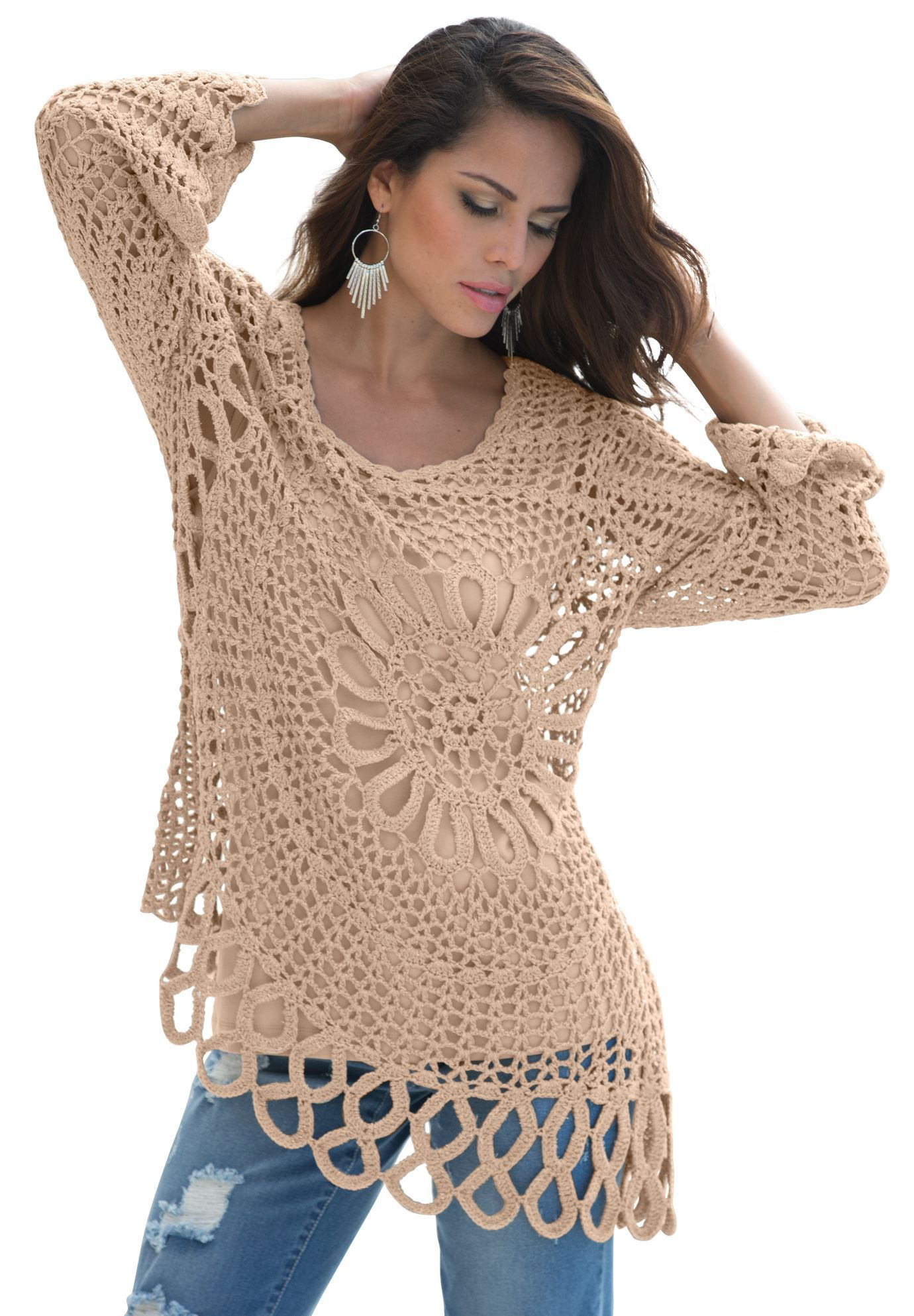 Roamans Taillissime Plus Size Grey Asymmetric Hem Dress: This Starburst Crochet Plus Size Sweater By Denim 24/7