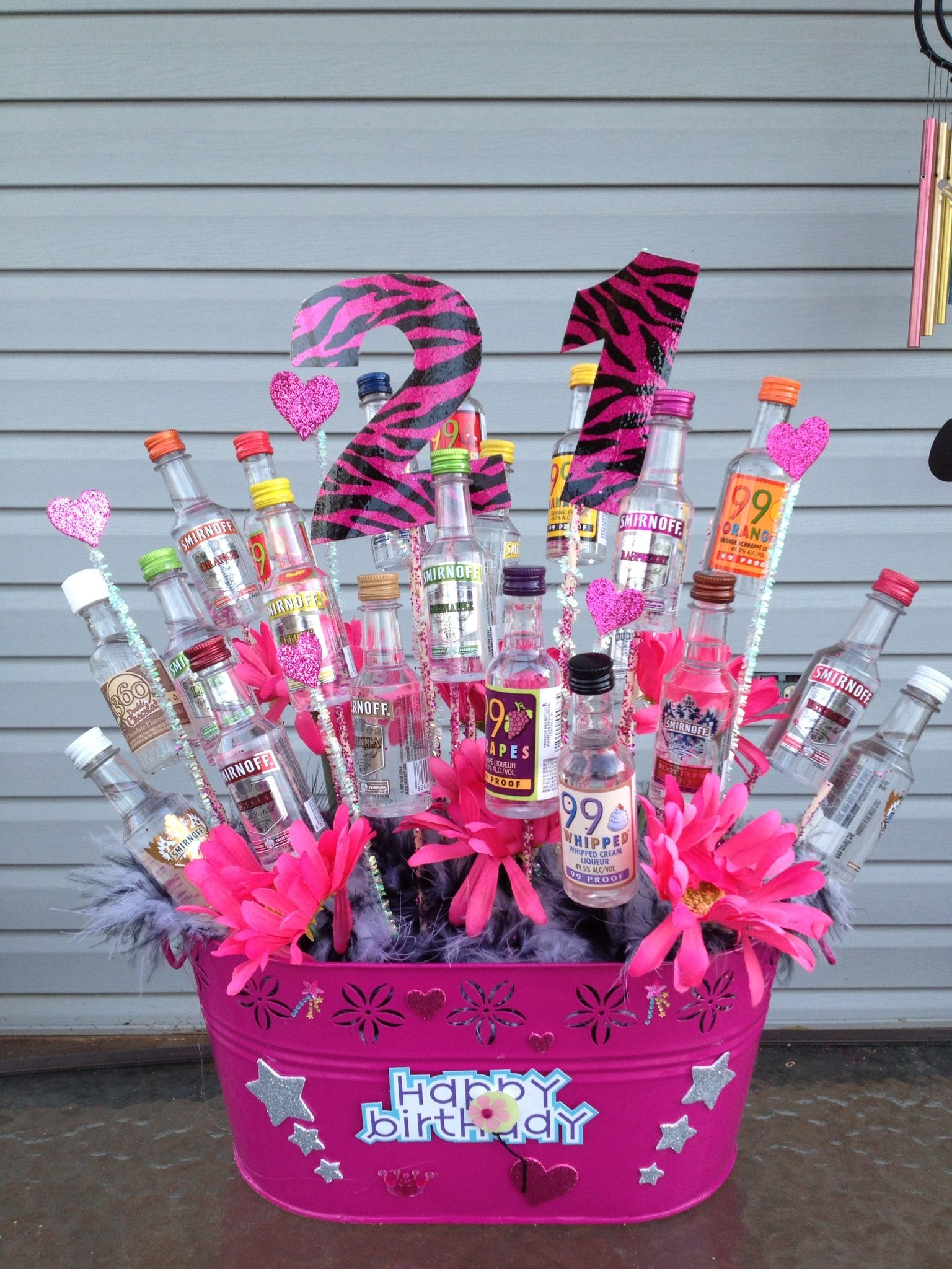 Great Gift Idea Easy To Make 21st Birthday Basket Liquor