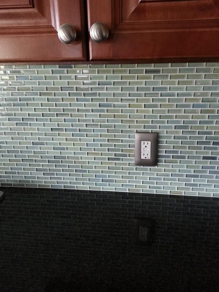 Reflections Hand Painted Glass Mosaic Subway Tile Kitchen Remodel