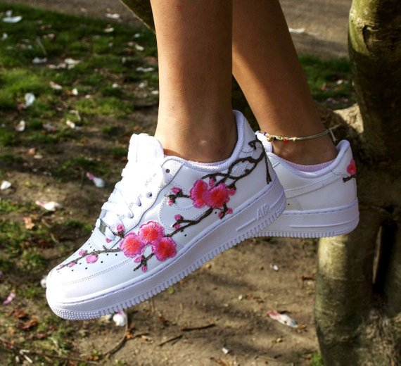 Nike Air Force 1 Low White with Pink Cherry Blossom Floral