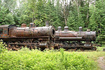 Abandoned Locomotives in Eagle Lake, Maine