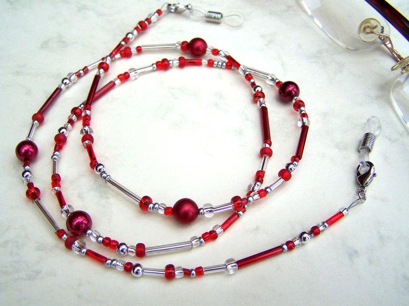 Elegante+Brillenkette++**rot+und+silber**++von+glanzundgeschmeide+auf+DaWanda.com