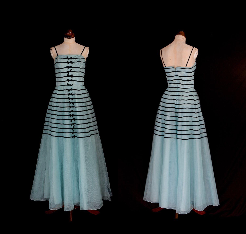Original Vintage 1950s Blue Stripe Tulle Prom Dress  - X Small - FREE SHIPPING WORLDWIDE by alexandrakingdesign on Etsy https://www.etsy.com/listing/398420619/original-vintage-1950s-blue-stripe-tulle