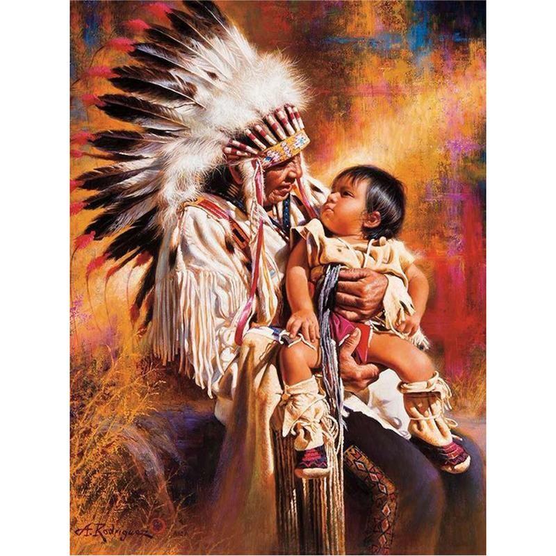 Diamond painting indian chief baby cross paintings