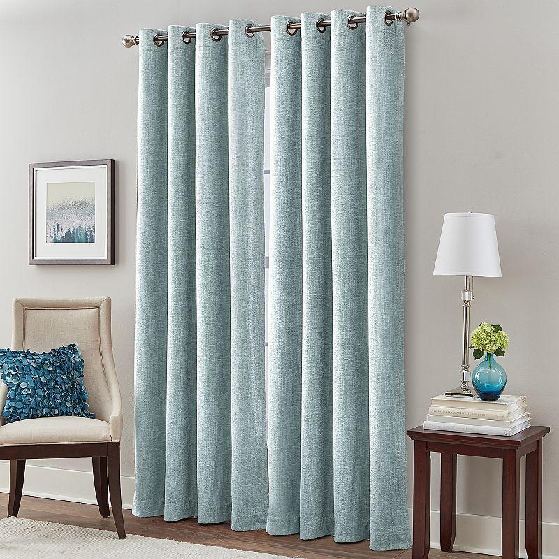 Majestic Chenille Room Darkening Curtain Blue