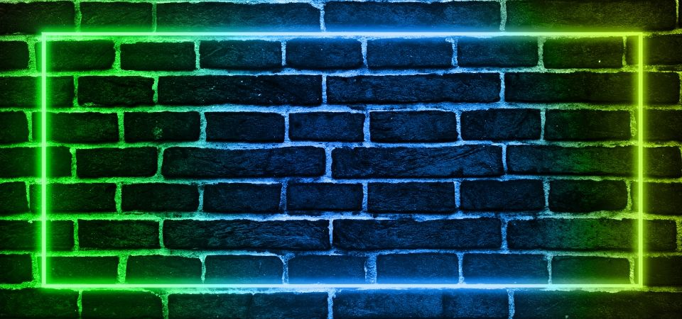 Futuristic Neon Lights Banner On Brick Background Brick Background Neon Backgrounds Neon