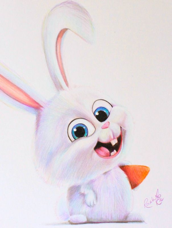 Snowball From Secret Life Of Pets Pencil Drawing By Rachelrie