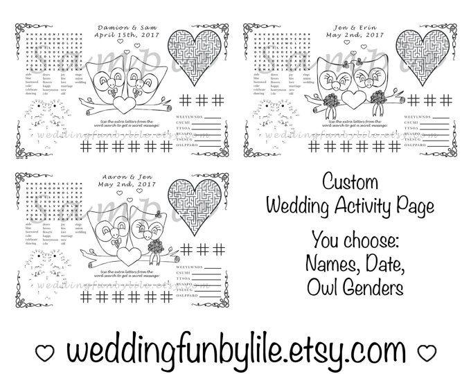 Eule Hochzeit Aktivität Seite PDF. Kinder, bedruckbar. Gay, LGBTQ. Benutzerdefinierte Bevorzugung, Einfärbung. Ihren Namen und Datum. Sie wählen die Hochzeitspaar Outfits.