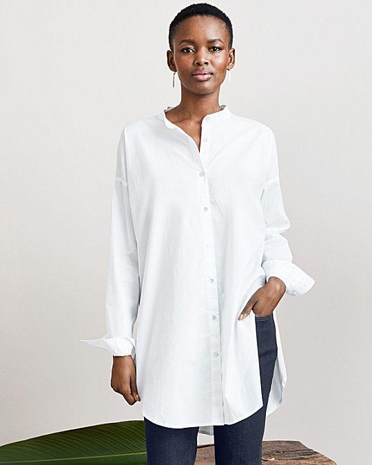 Eileen Fisher Organic Cotton Mandarin-Collar Shirt | Women\'s ...