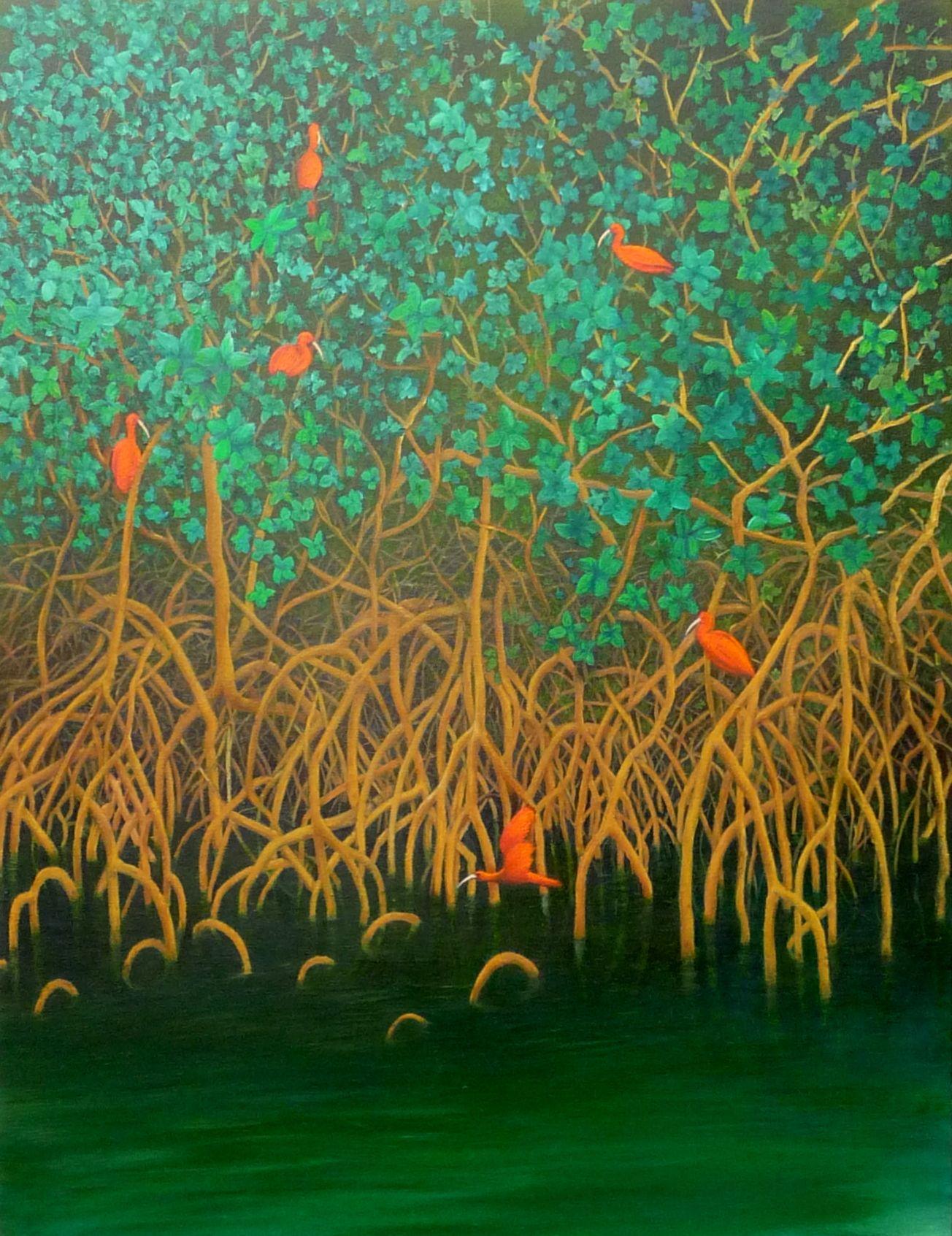 Quadro Pintura By Jorge Marcovich Passaro Guara No Mangue Ibis On