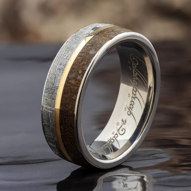 Gibeon Meteorite Ring With Fossil And Yellow Gold Pinstripe 1551yg In 2020 Mens Wedding Rings Meteorite Ring Silicone Wedding Rings