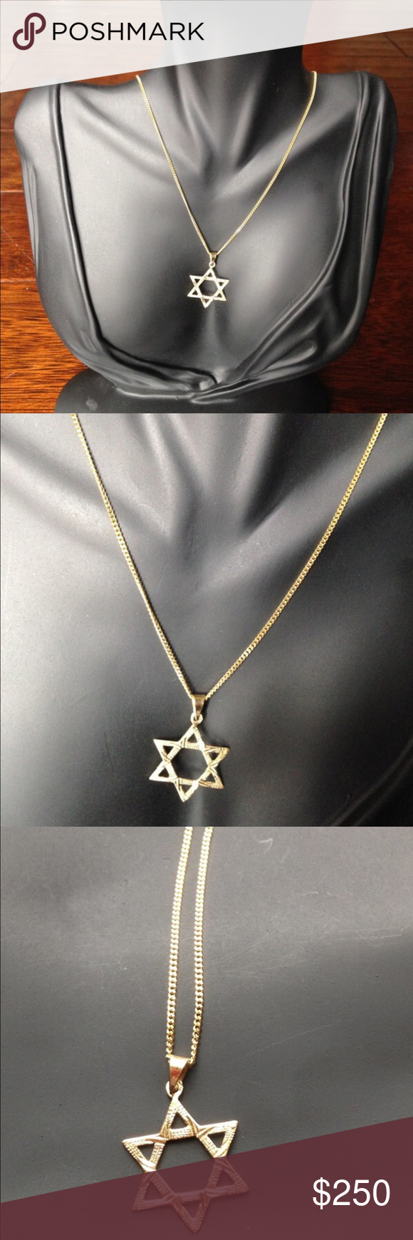 "14k Star of David Necklace Real gold Star of David necklace in a 20"" long chain. Sturdy necklace for everyday wear. Jewelry Necklaces"
