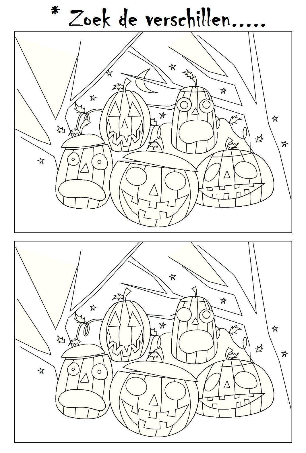 Zoek De Verschillen Herfst Halloween Knutselen Halloween Halloween Spelletjes