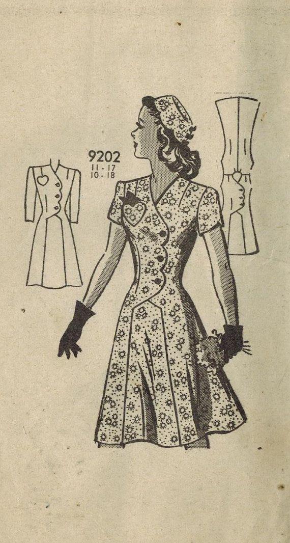 1940s Mail Order 9202 Vintage Sewing Pattern Junior Misses Afternoon ...
