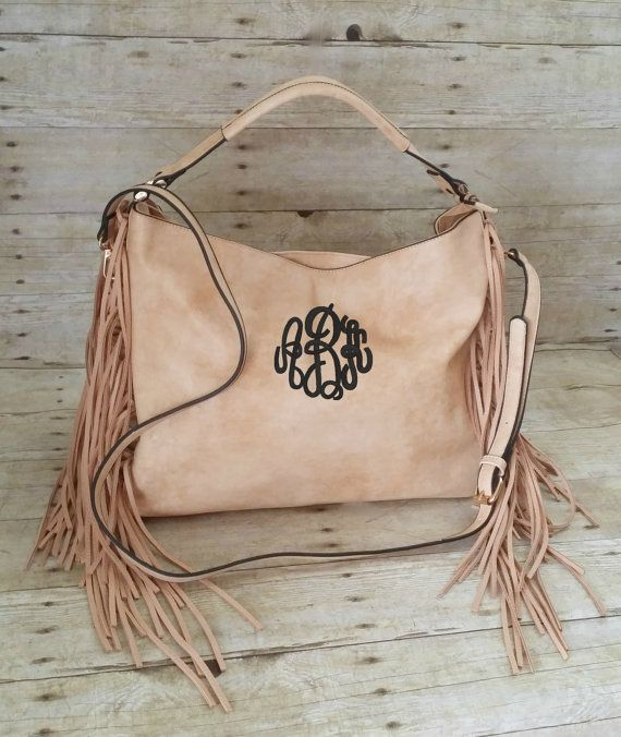 3bc87d5d2f Monogram Purse Large Hobo Fringe Purse by MaBrownMercantile