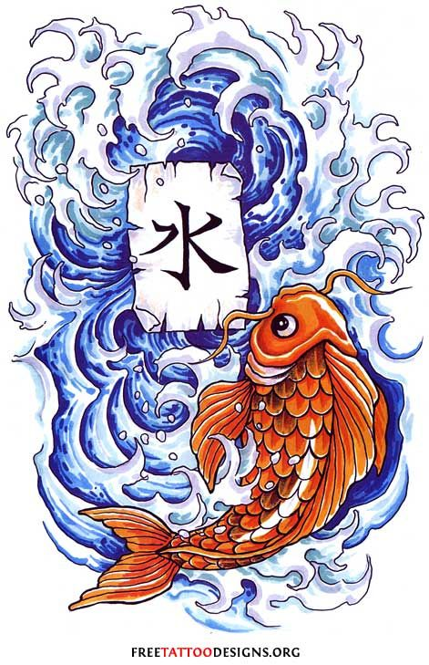 Koi tattoo design with waves and kanji also meaning of for What does koi mean