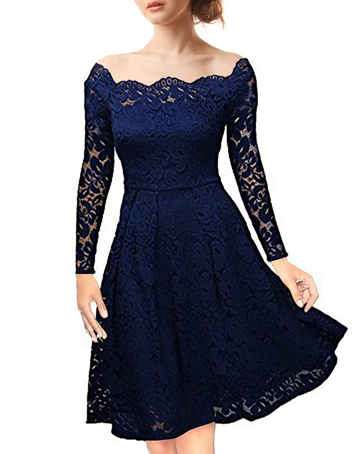 3f41eb3cbbca NALATI Women's Vintage Floral Lace Off-Shoulder Long Sleeves Boat Neck  Cocktail Party Swing Dress
