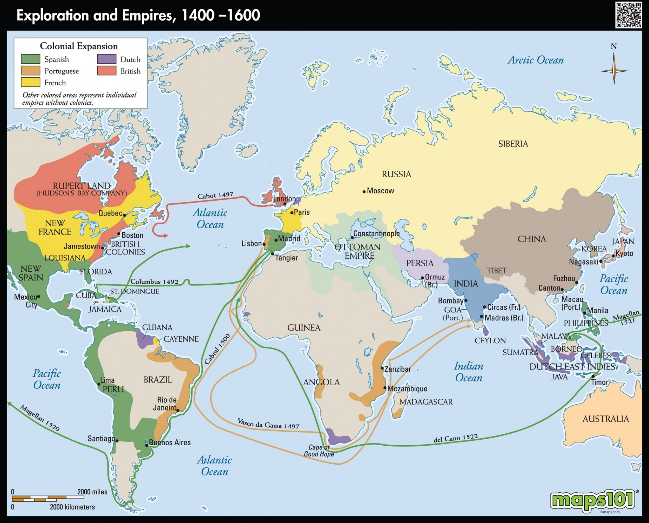 Exploration and colonization of European Empires 1400-1600 | General ...