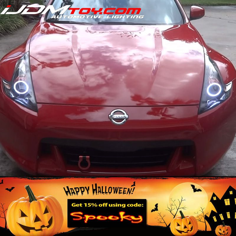 Retrofit Led Halo Rings Showcased On A Nissan 370z Get Your Set Today And Take 15 Off Your Purchase With Code Spooky Angel Eyes Custom Headlights Led Halos
