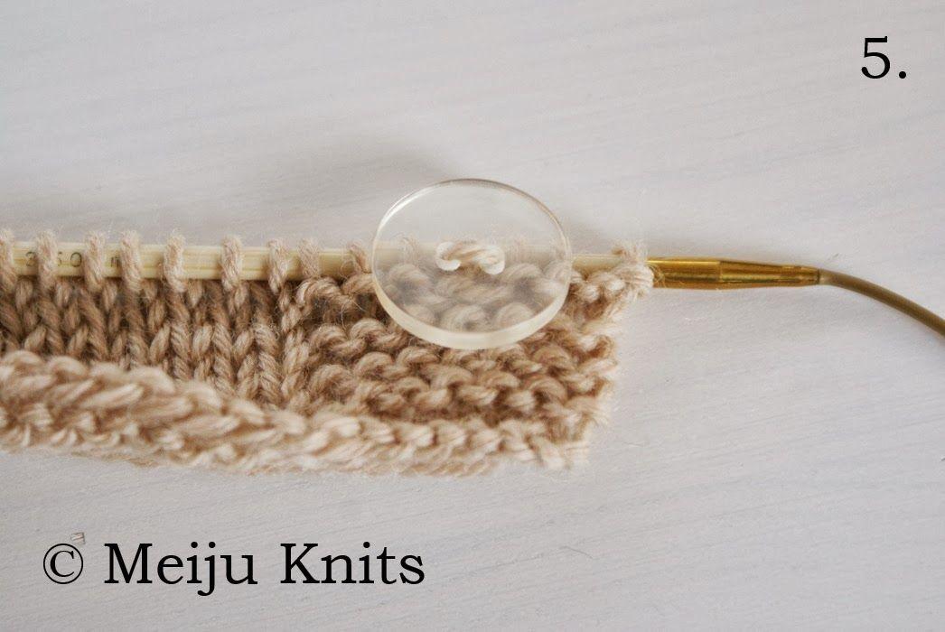 Meiju Knits: Napin kiinnitys neuloen//Button attachment by knitting