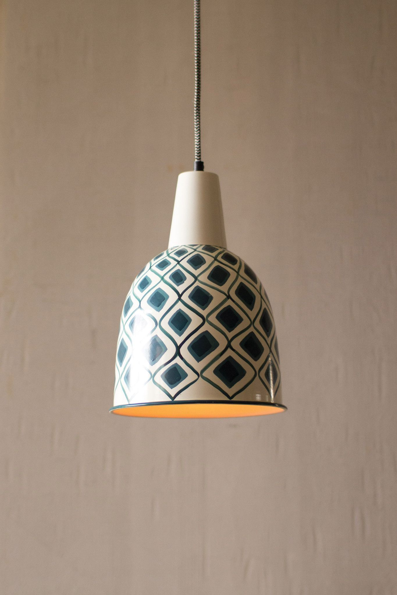 PENDANT LAMPS WITH HAND PAINTED DESIGNS WITH BLACK & WHITE FABRIC CORDS - Comes in 2 Colors