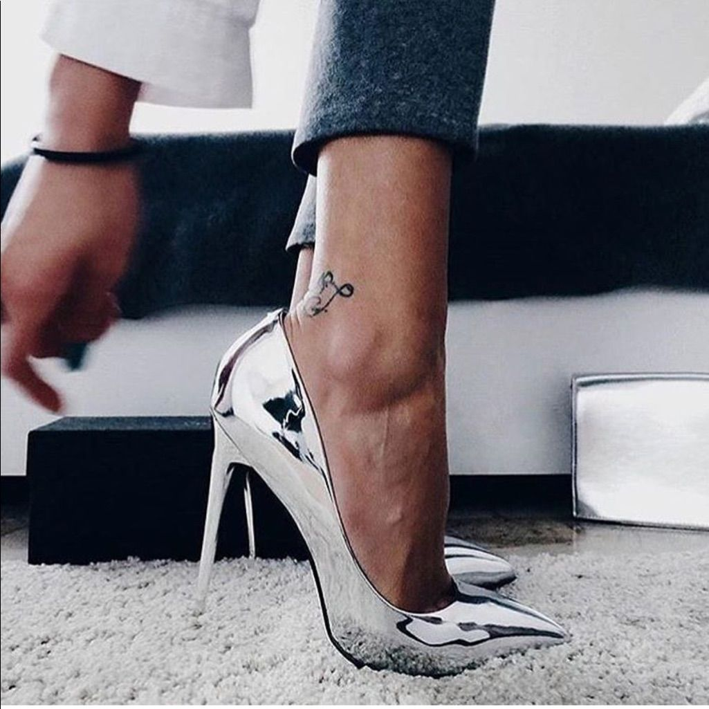 Silver Pointed Toe High Heel Pumps